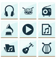 audio icons set collection of start instrument vector image vector image