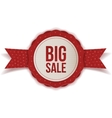 Big Sale Christmas realistic red Label with Ribbon vector image vector image