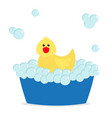 bubble bath yellow rubber duck bird toy bathtub vector image vector image