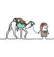 cartoon tuareg man with camel vector image vector image