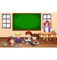 Children doing groupwork in classroom vector image vector image