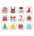 Christmas colorful buttons set - Santa present t vector image vector image