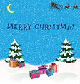 Christmas picture with Christmas trees Santa Claus vector image