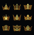 crown modern gold logo set vector image