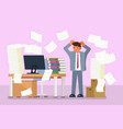 depressed office worker flat style design vector image vector image