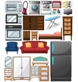 different types of home appliances vector image vector image
