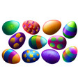 easter set realistic multi-colored eggs vector image