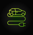 electric vehicle with plug green line icon vector image vector image