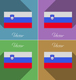 Flags Slovenia Set of colors flat design and long vector image vector image