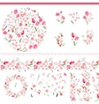 Floral spring elements with cute bunches of tulips vector image vector image