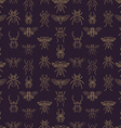 Gold and purple insects seamless pattern vector image vector image