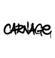 graffiti carnage word sprayed in black over white vector image vector image