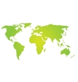 Green silhouette of world map vector image