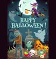 halloween night graveyard zombie ghosts pumpkin vector image vector image