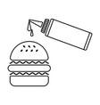 hamburger and sauce vector image vector image