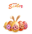 happy easter eggs with bunny ears vector image