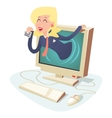 Happy Woman with Calling Card in Monitor Center vector image