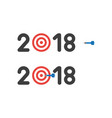 icon concept of year of 2018 with bulls eye and vector image
