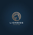 lioness face in a circle frame abstract vector image