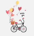 love card flat design hand drawn bicycle with vector image vector image