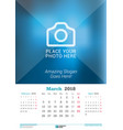 march 2018 wall monthly calendar for 2018 year vector image vector image