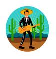 mexican mariachi in desert circle retro vector image