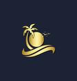 palm tree sunset beach gold logo vector image vector image