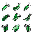 peas icons set flat vector image vector image