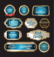premium quality gold and blue labels vector image vector image
