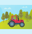 red tractor on green meadow among trees and bushes vector image
