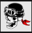 retro biker skull head wearing vintage vector image vector image