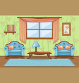 set cartoon cushioned furniture living room vector image vector image
