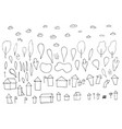 set of houses trees and clouds vector image
