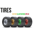Set of sports car colorful wheels vector image vector image