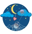 Spiders and Heart under the Moon vector image vector image