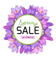 spring sale promo banner crocus flowers wreath vector image vector image