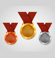 three award medals with ribbons gold medal vector image vector image