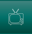 tv icon in line style on green background vector image vector image
