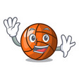 waving volleyball character cartoon style vector image