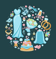 wedding symbols bridal dress and veil cake and vector image