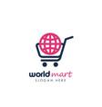 world shop logo design template world marketplace vector image