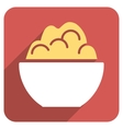 Porridge Bowl Flat Rounded Square Icon with Long vector image