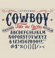cowboy handcrafted retro textured typeface vector image