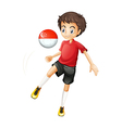 A soccer player with the Singapore flag vector image vector image