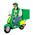 adult delivery male worker riding vintage vector image vector image