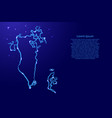 bahrain map from contour blue brush lines vector image vector image
