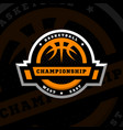 basketball championship sports logo emblem on a vector image vector image