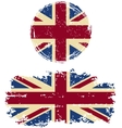 British round and square grunge flags vector image vector image