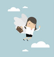 businesswoman flying with her wing vector image vector image
