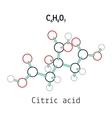 C6H8O7 Citric acid molecule vector image vector image